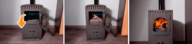 Instrucciones para encender la estufa con Troncos de Madera