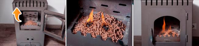 Instrucciones para encender la estufa con Pellets